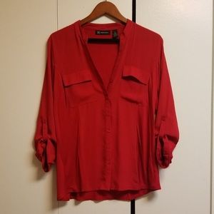 INC Cherry Red Button Down Rolled Sleeves Blouse